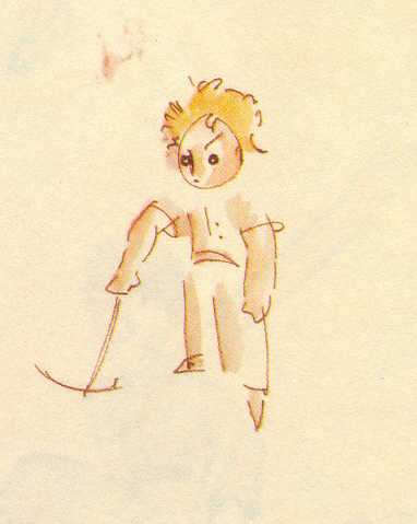 Watercolor of the little prince from Saint-Exupéry's early sketches with a child's watercolor set in 1942.