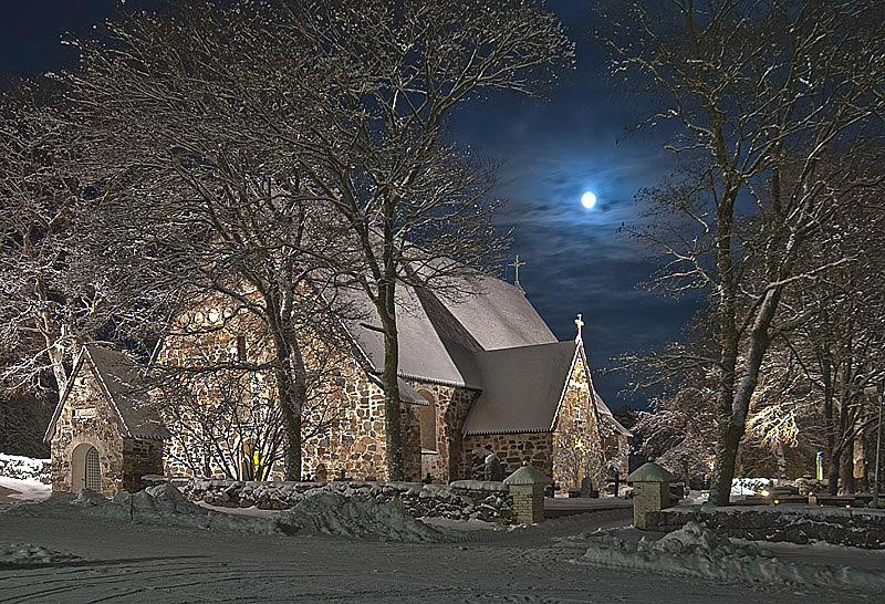'Medieval Church in the Moonlight' in Nauvo, Finland, January, 2010, Photo by and Copyright 2010 by Vesa Loika