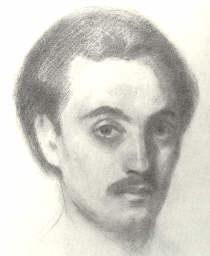 Click to return to ARJ Page,  Self-portrait of Kahlil Gibran from 1914,  No. 8 of Illustrations in book