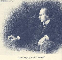 Click to return to ARJ Page, Engraving of Belyi by his wife, Assya Turgeniev from book, p.2