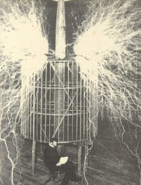 Composite photo of Nikola Tesla sitting calmly while millions of volts of discharges fly around him, from back cover of book jacket