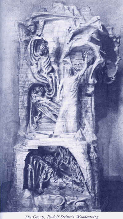Wood Sculpture of The Group by Rudolf Steiner, photo from page 89 of Reminiscences of Rudolf Steiner by Andrei Belyi, Voloschin, &Turgenieff.