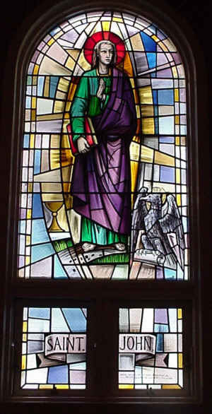 St. John, Photo by Bobby Matherne, Stained Glass by G. Polloni e C. Florence, Italy, A.D. 1978, St. Charles Borremeo, Norco, Louisiana, USA