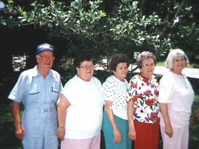 Photo of Earl, Annette, Clara, Clarise, Merlin Babin, c. 2000