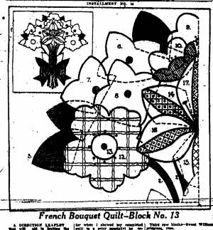 1930 Applique Quilt Pattern in Times-Picayune, from Microfilm thanks to Maureen Matherne Bayhi